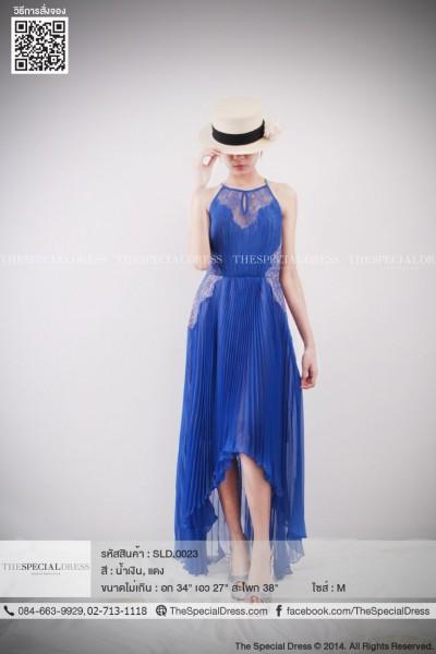 Luxuryชุดราตรีแขนกุดจับพลีทสีเนวีบลู กระโปรงหน้าสั้นหลังยาว  ประดับลวดลายลูกไม้ช่วงอกและเอว