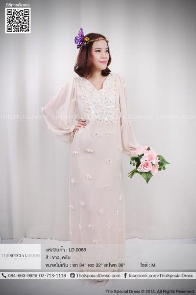 Luxuryราตรียาว ผ้าชีฟอง แขนยาว ประดับลวดลายดอกไม้