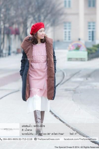 เสื้อโค้ทกันหนาว คอหนาคล้ายฮู้ด ซิปหน้า ใส่ได้สองด้าน