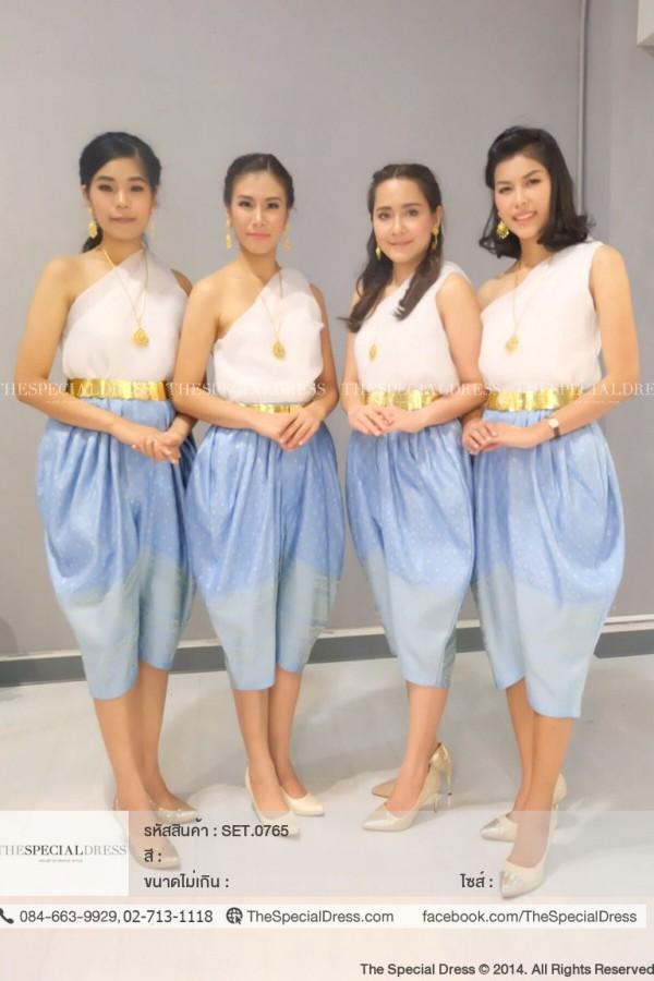 """เสื้อผู้หญิง ผ้าแก้ว ปาดไหล่ คอปีน (BLO.0628)  สี : ขาว, ชมพู, ทอง, เทา  Size :  S ขนาด: อก 32″ เอว 30″ สะโพก Free"""" M ขนาด: อก 34″ เอว 32″ สะโพก Free"""" L ขนาด: อก 36″ เอว 34″ สะโพก Free"""" 2XL ขนาด: อก 40″ เอว 38″ สะโพก Free"""" 4XL  ขนาด: อก 44″ เอว 42″ สะโพก Free""""  ชุดไทย โจงกระเบนลายไทย (TJB.0523)  สี : น้ำเงิน, ครีม, เขียวอ่อน, ฟ้า  Size : S ขนาด: อก Free"""" เอว 34″ สะโพก Free"""" M ขนาด: อก Free"""" เอว 30″-42″ สะโพก Free"""" L ขนาด: อก Free"""" เอว 30″-44″ สะโพก Free"""" XL ขนาด: อก Free"""" เอว 30″-46″ สะโพก Free"""""""